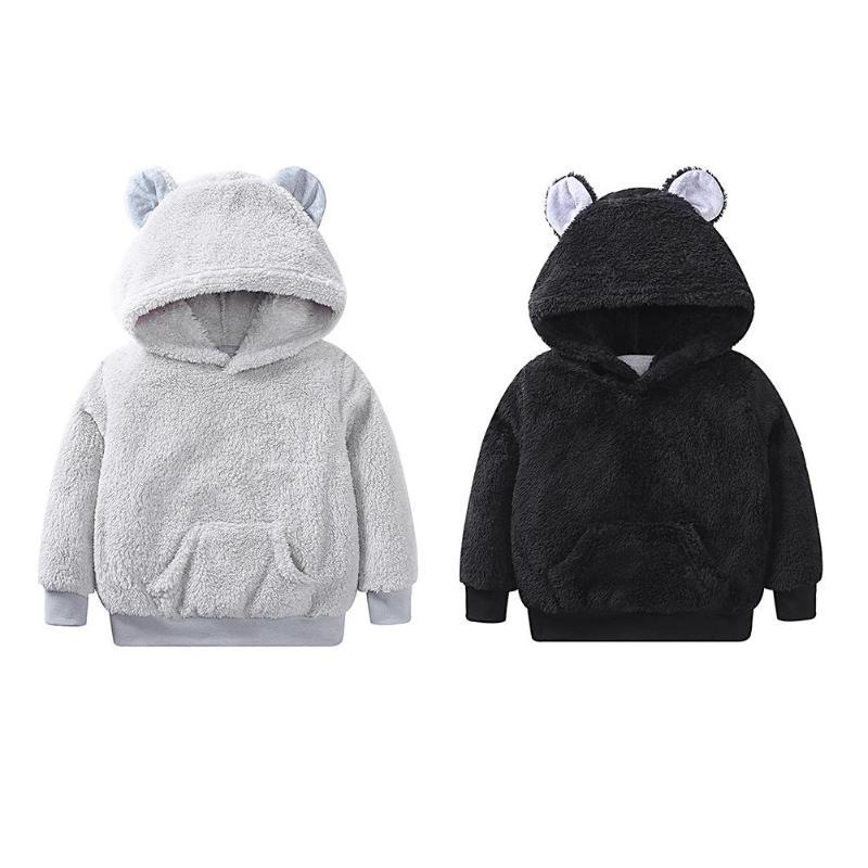 1909c718a23f2 Soft Winter Hoodies Cute Bear Fleece Coat Children Pullover Tops  Sweatshirts Coat Outerwear Infant Hoodies Kids Boys Light Jackets Best Kids  Winter Jacket ...