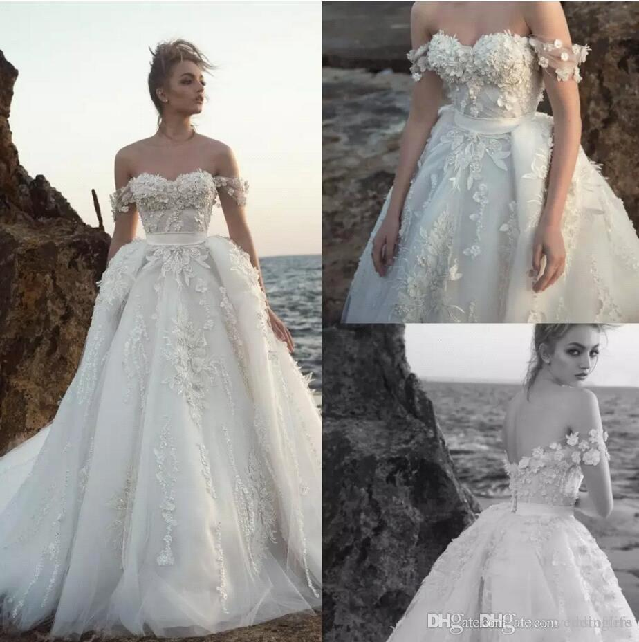 23cccdefdaf Discount Romantic Ivory Off Shoulders Lace Appliqued Wedding Dresses 2019 A  Line Tulle Summer Beach Wedding Bridal Gowns With Overskirts BC1479 Unique  ...
