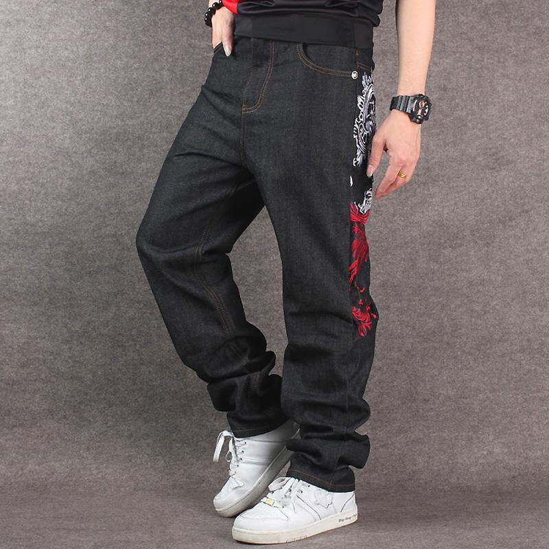 2019 Men s Black Baggy Jeans Hip Hop Designer CHOLYL Brand Skateboard Pants  loose Style True HipHop Rap Jeans Boy