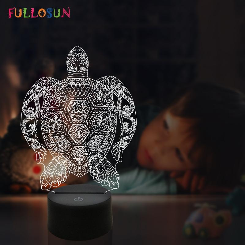 2019 3d Lamp Led Sea Turtles Night Light Animal Table Lamp Holiday