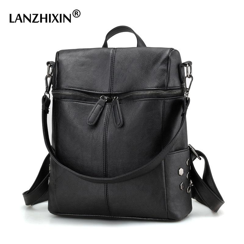 3a91fb9bce LANZHIXIN Large Capacity Leather Backpack Woman Bags Waterproof Anti Theft  Travel School Bags Laptop Backpacks For Teenage Girls Kids Backpacks Dakine  ...
