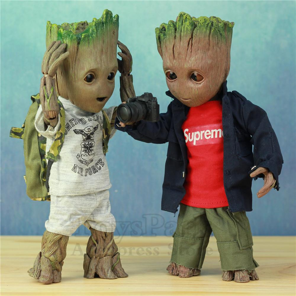 Life Size 1:1 Marvel Guardians Of The Galaxy Avengers Cute Baby Young Tree Man Bjd 25cm Action Figure Ko's Ht Hot Toys Legends Y19051804