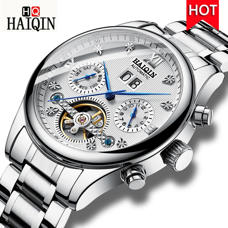 HAIQIN Men's Watches 2019 New Top  Fashion Men's  Machinery / Sports / Waterproof Watch Men Stainless Steel Clock