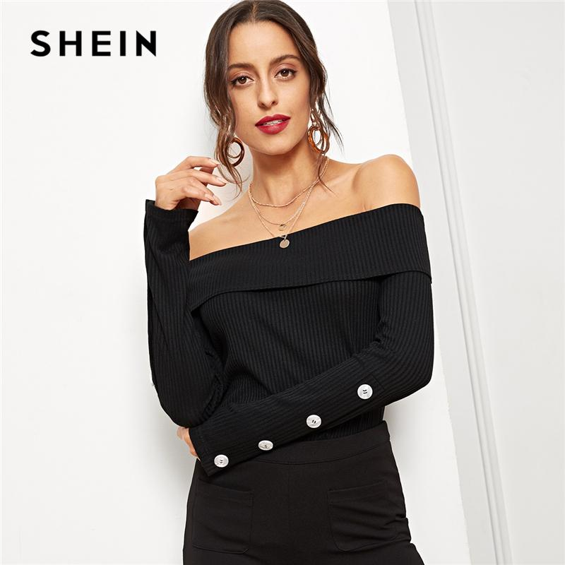 6aa4477e6f SHEIN Black Foldover Front Off Shoulder Tee Long Sleeve Solid Slim Fit  Pullover Women Autumn Casual Womens Tops And Tshirt Funky T Shirts For  Women T Shirt ...