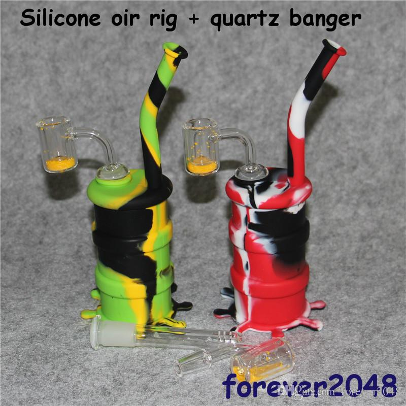 Mini Silicone Bong Dab Rigs Water Pipe Portable with Quartz Thermochromic Bucket Banger Unbreakable Oil Rigs Hookah Silicone Pipe