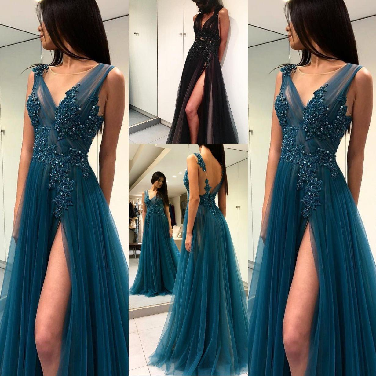 8838d6b0b26e Sexy Prom Dresses A Line Deep V Neck Lace Appliques Thigh High Slit Open  Back Evening Party Dresses Sheer Long Evening Gowns DP0100 Petite Prom  Dresses Uk ...