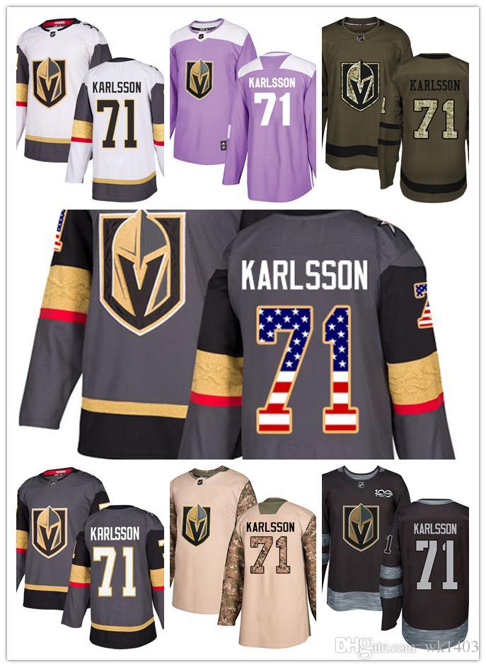 release date: 248d5 8fa87 Vegas Golden Knights jerseys 71 William Karlsson jersey hockey team men  women gray white black Authentic winter classic Stiched gears Jersey