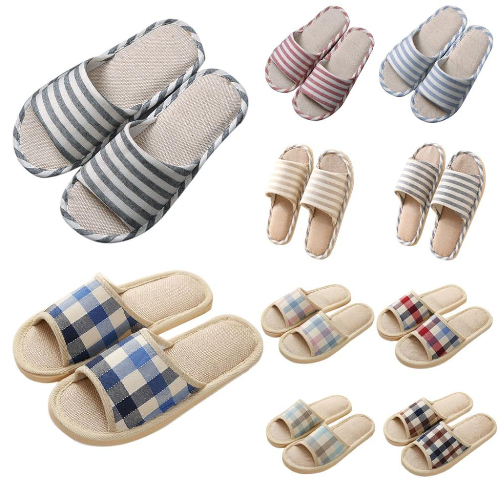 Adult Linen Striped Slippers Women House Summer Flax Shoes Indoor Floor Sandals Hot New Size 37-40