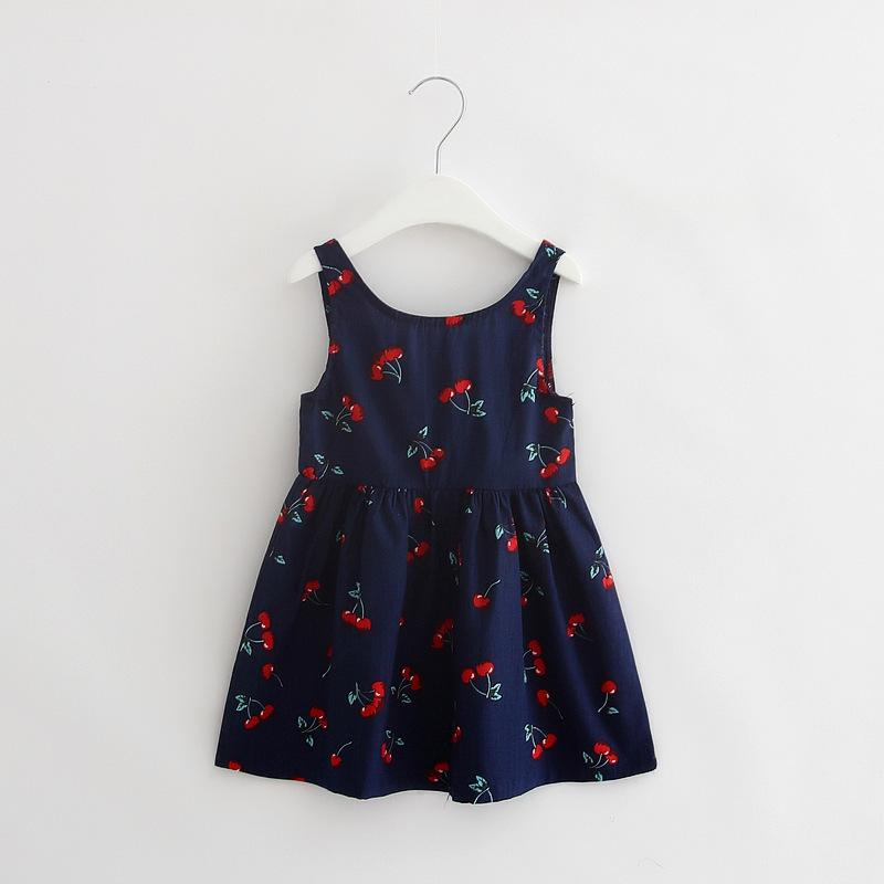Sleeveless Girl Dress Children Clothing Floral Princess Summer Style Print Casual Kids Clothes Cute Vestidos Baby Dresses Girls