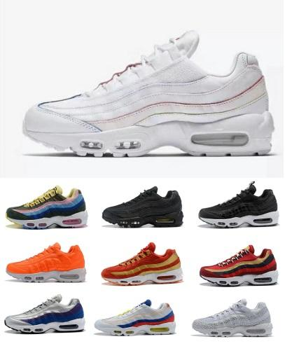 5211f381986 95 OG Mens Designer Running Shoes Women 97 95 Plus Tn Triple Black ...