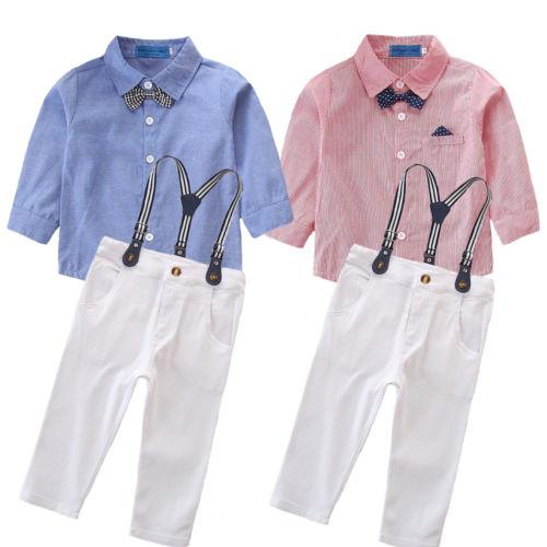02553f6b1 Kid Baby Boy Wedding Formal Tuxedo Suit Bowtie Gentleman Party Clothes Sets  Solid Long Sleeve Shirt Pants Newborn Outfit Pudcoco