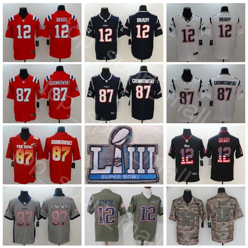 2019 2019 Super Bowl LIII Patch Patriots Football 12 Tom Brady Jersey Men  11 Julian Edelman 87 Rob Gronkowski Blue Red White Superbowl Limited From  ... 0cecc931c