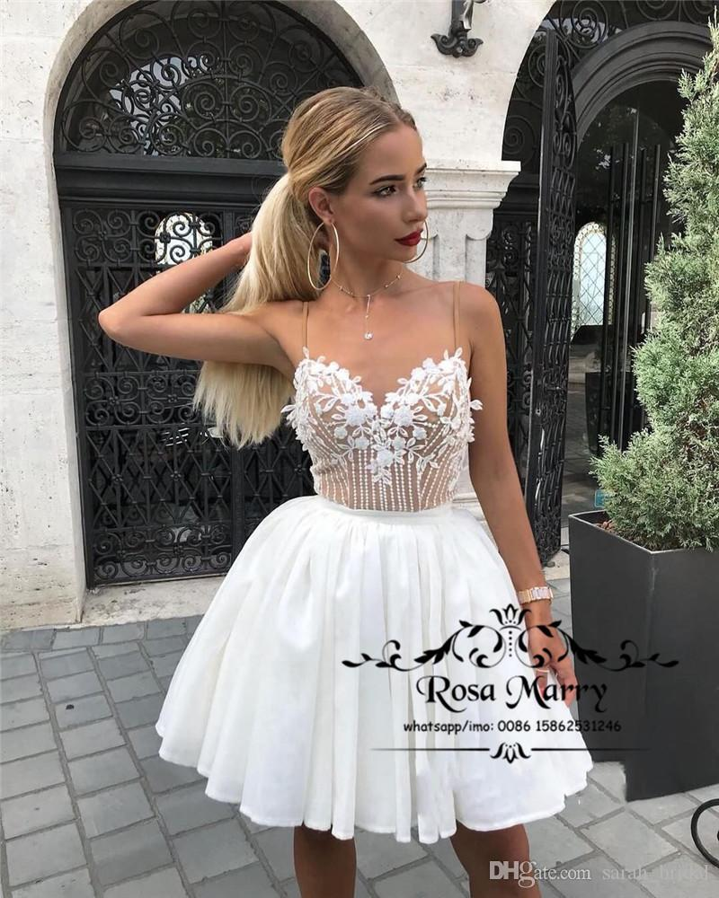 Sexy White Short Prom Dresses 2019 A Line Vintage Lace Beaded Plus Size  Knee Length Cheap Girls Formal Graduation Evening Party Gowns