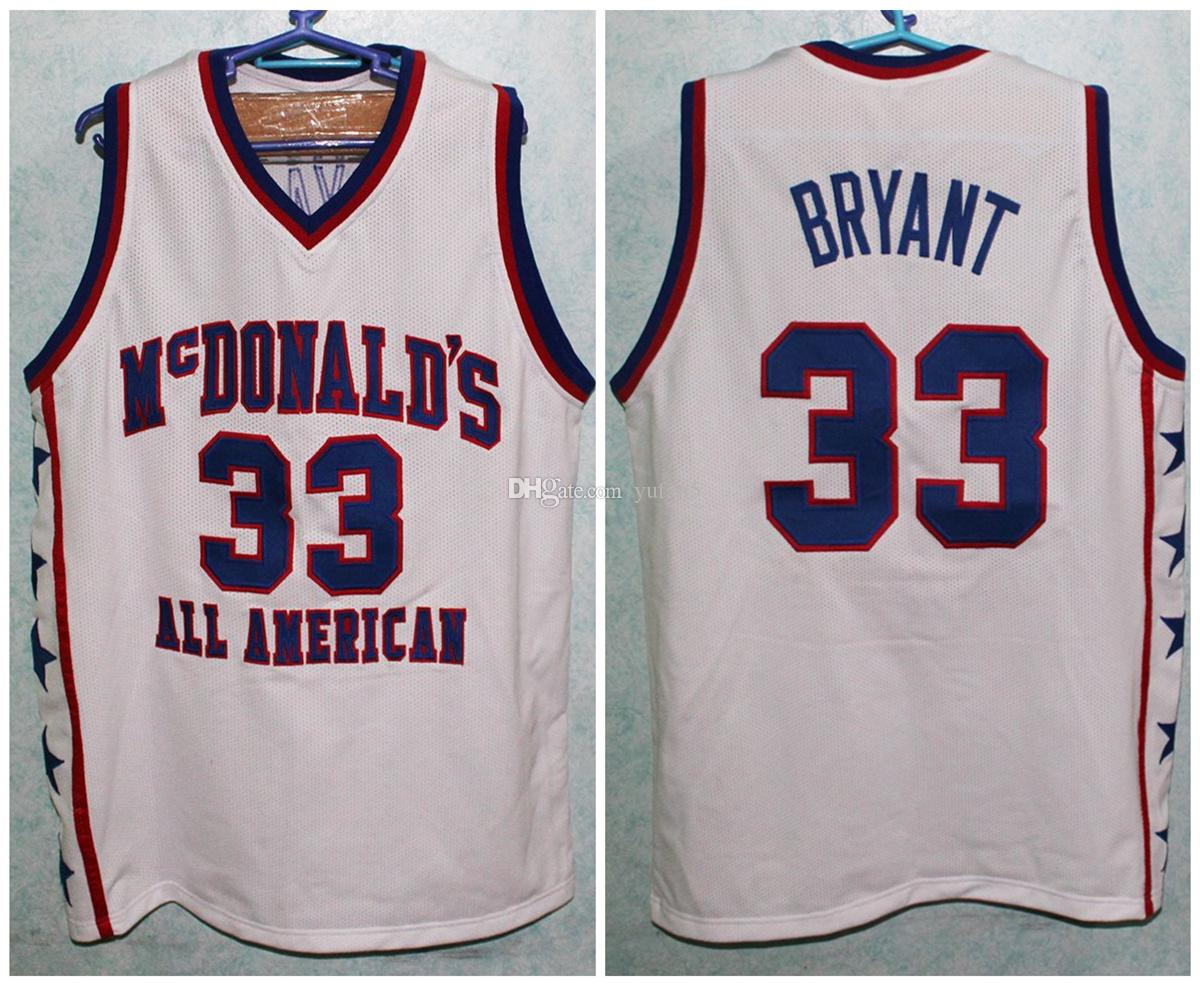 the latest 28270 88693 McDonald's All American Kobe Bryant #33 White Retro Basketball Jersey Mens  Stitched Custom Any Number Name Jerseys
