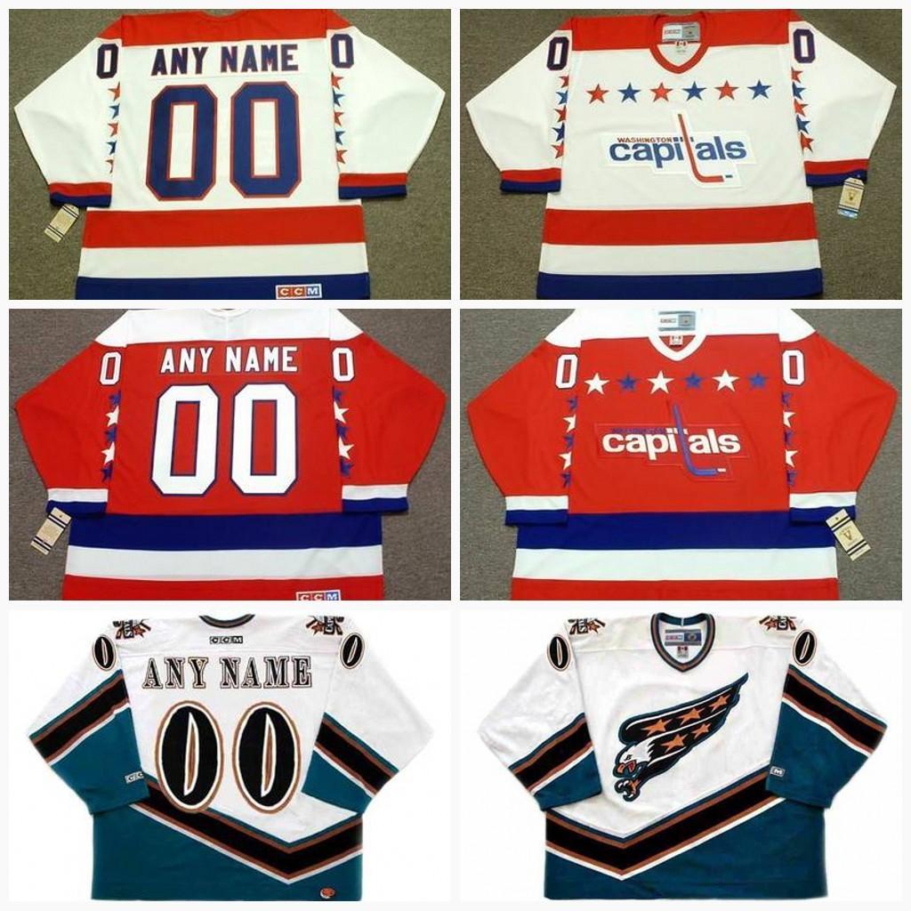 san francisco dbb00 d2b3c Washington Capitals Jersey Mens Womens Youth Vintage CCM Old Hockey Jerseys  Goalie Cut Personalized 4XL 5XL 6XL
