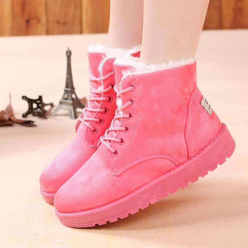 Shoes Women Hot Women Boots Snow Warm Boats Slip on Ankle Boots Shoes Pink