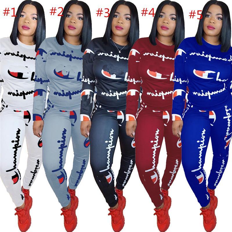 6bc78e28ff Women Champions Letter Print Tracksuit Long Sleeve T Shirt Top Pants  Leggings 2PCS Set hoodie Outfits Sportswear Cotton Clothing Suit