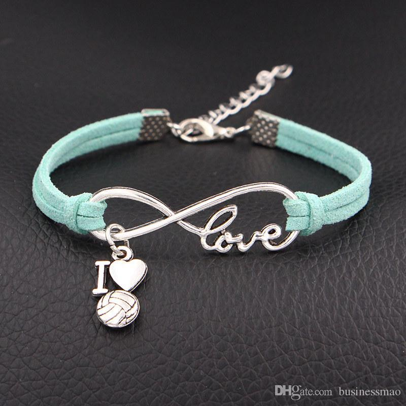 Hot Luxury Infinity Love I Heart Volleyball Pendant Bracelets & Bangles Light Green Leather Suede Rope Charms Women Men Fashion Jewelry Gift