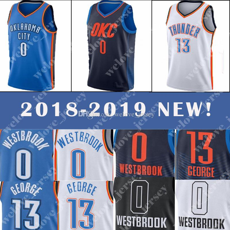 fbe4564bc4e3 2019 Thunder Jersey Russell 0 Westbrook Paul 13 George Men S Popular Basketball  Jersey 2018 2019 NEW Top Quality From Welove jersey
