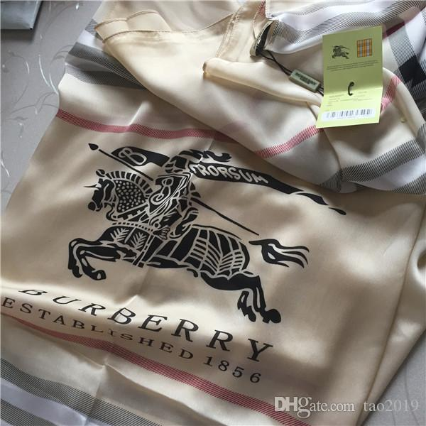Classic brand women's silk scarves high-quality soft silk scarves classic plaid war-horse printed silk scarves 190*80cm.