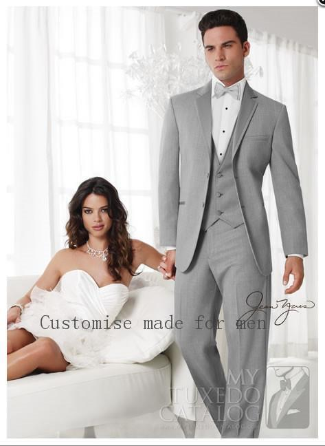 Wholesale- 2016 Custom Design Slim Fit Light Gray Two Buttons Notch Lapel Groom Tuxedos Men Suits For Wedding Groomsman Suits 4 Pieces