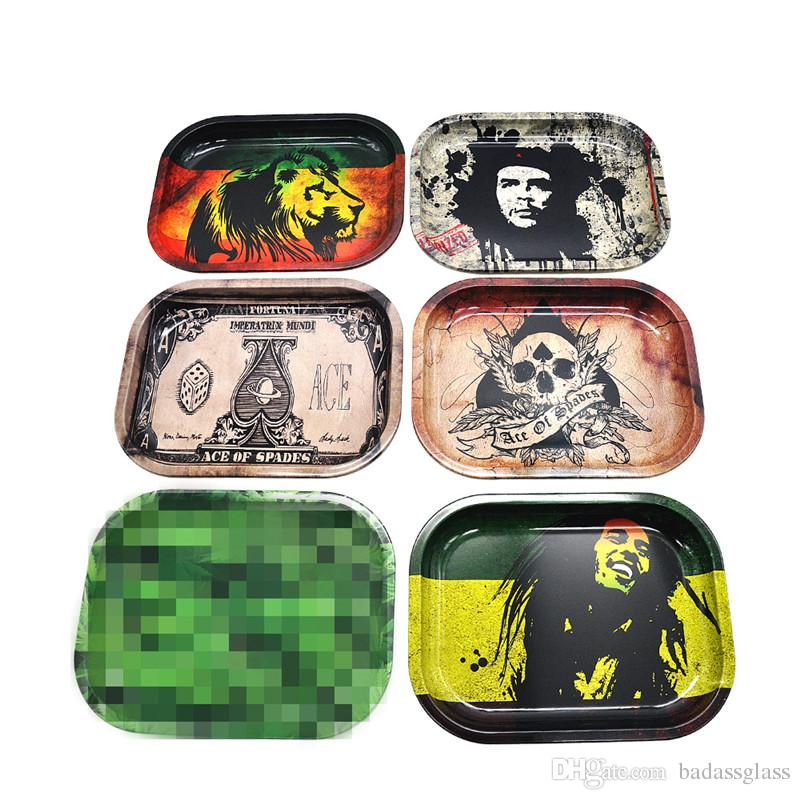 Metal Roll Rolling Tray For Smoking Pipes Papers Tobacco Storage Raw Grinders Smoke Accessories In Retail Free Shipping