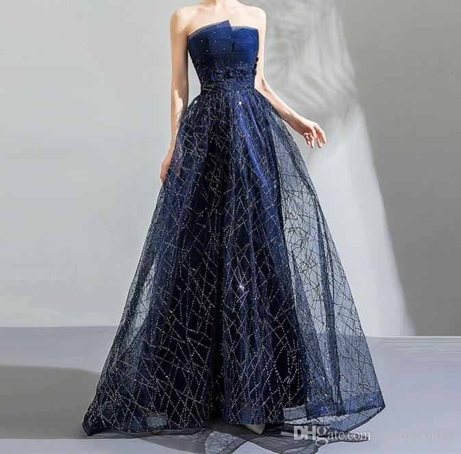 Navy Blue Strapless Evening Dresses Long Prom Dress Soft Tulle Shining  Sequins Lace Up Back Formal Wear For Women Gowns Online From Lpdqlstudio fd49115afd8b