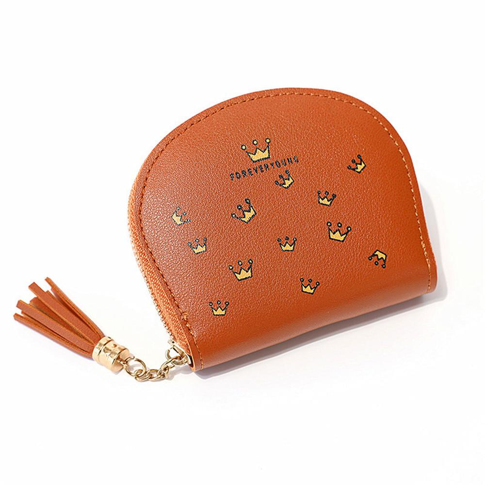 Women Wallet Crown Print Coin Faux Leather Card Package Tassel Pendant Bifold Holders Clutch Purse Lady PU