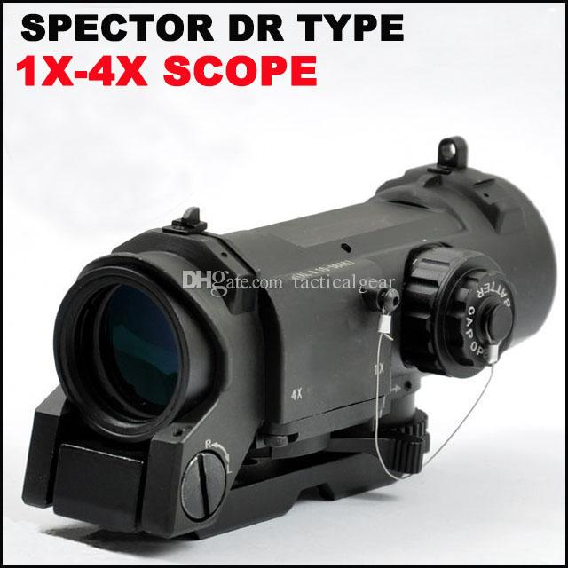 Tactical Spector DR 1X 4X Illuminated Mil-Dot Scope Zielfernrohr Schwarz Dark Earth