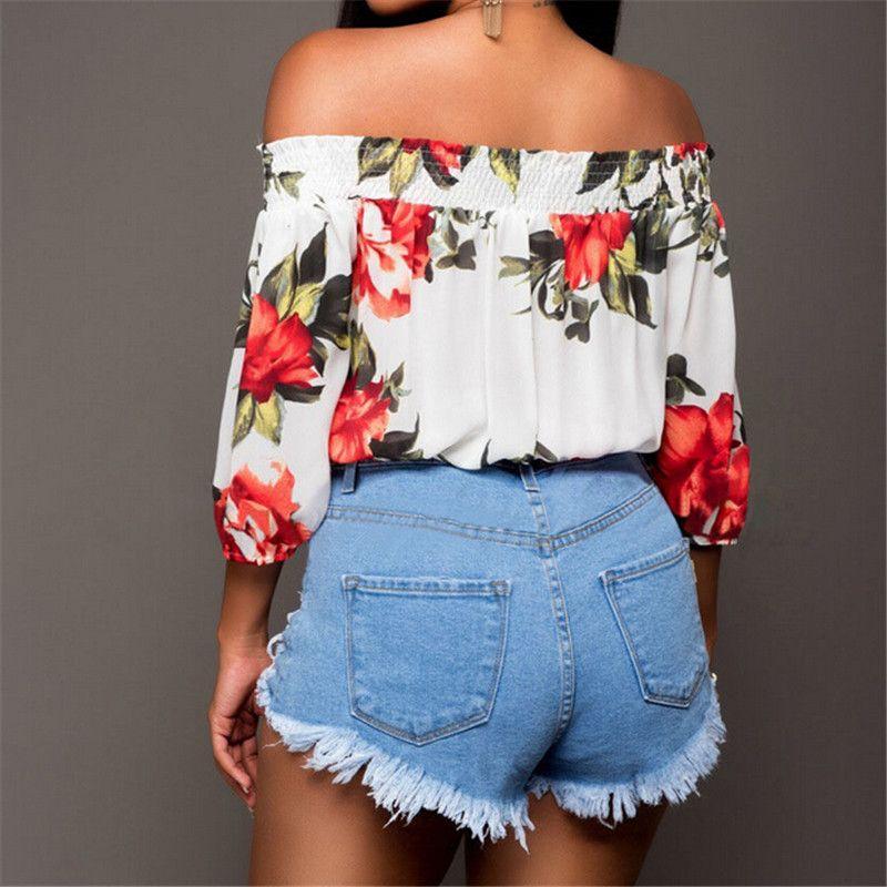 Stilvolle Damen High Waist Mini Jeans 2018 Sommer-Strand-Hot Demin Art und Weise Damen zerrissene Loch Gewaschene Distressed kurze Jeans