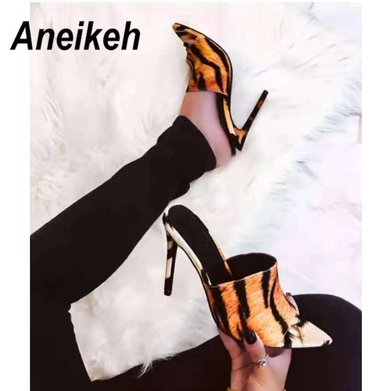 e5ea67fb3f Dress Aneikeh New 2019 Leopard Print Sandals Open Toe High Heels Women Thin  Heels Slippers Shoes Heel Clear Sandals Slippers Pumps