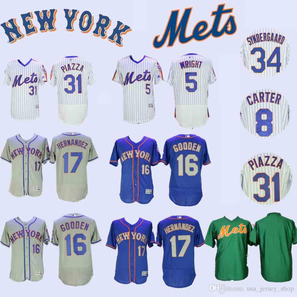 half off 429b6 e790d New York David Wright Jersey Mets Gary Carter Dwight Gooden Jacob deGrom  Hernandez Darryl Strawberry Mike Piazza Syndergaard Tom Seaver