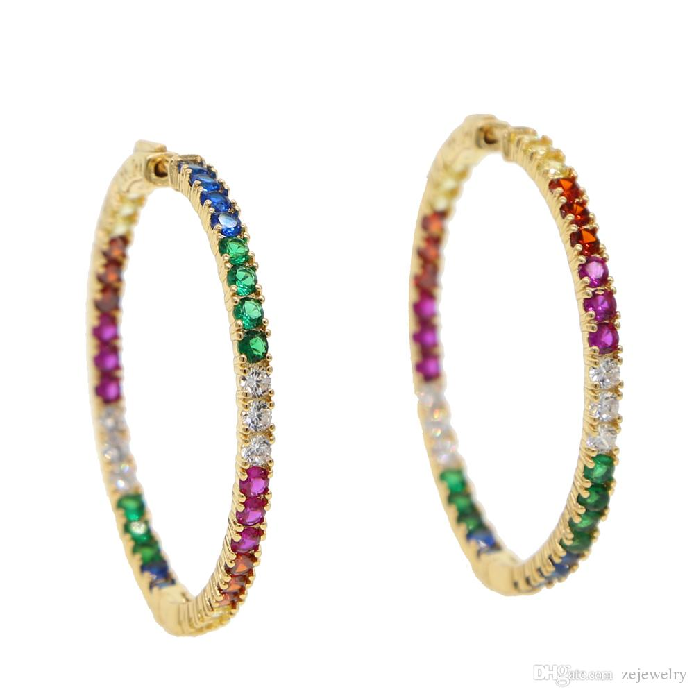 64cfabf449fe 2019 2019 Gold Color Top Quality Delicate Colorful Cz Hoop Multi Color  Stone Romantic Chic Gorgeous Women Ladies Rainbow Hoop Earring From  Zejewelry