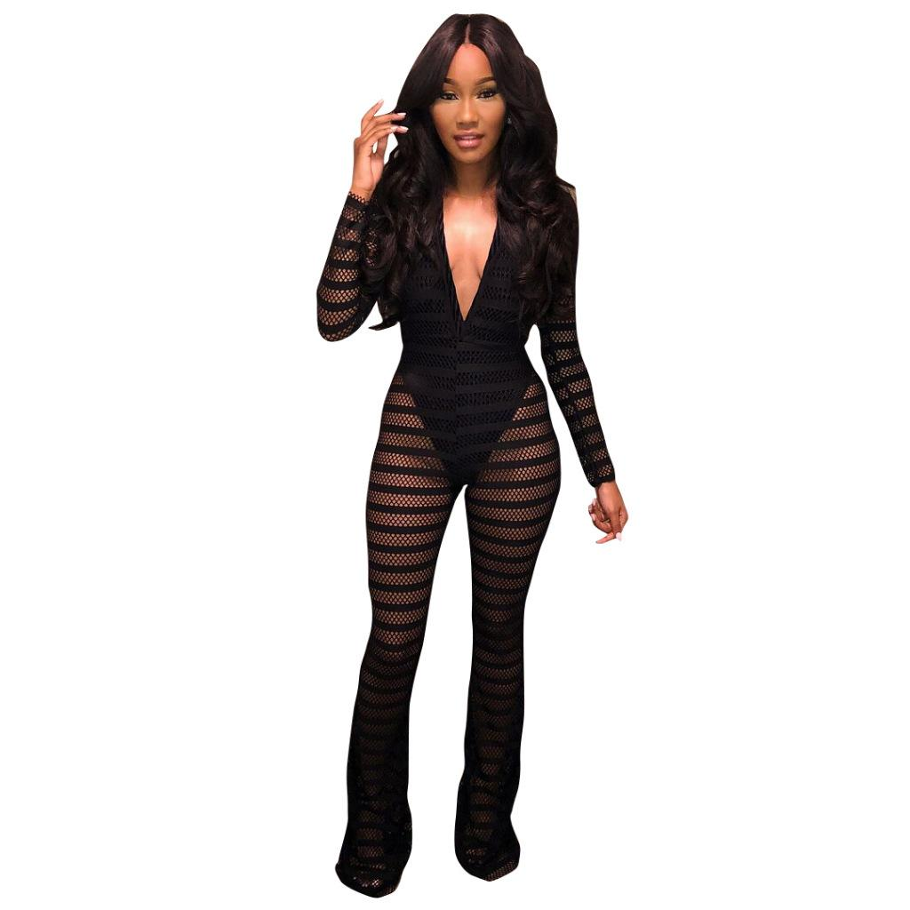 b151cc67d0 Women s Sexy Tight Mesh Lace Deep V Neck Long Sleeve Party Clubwear ...