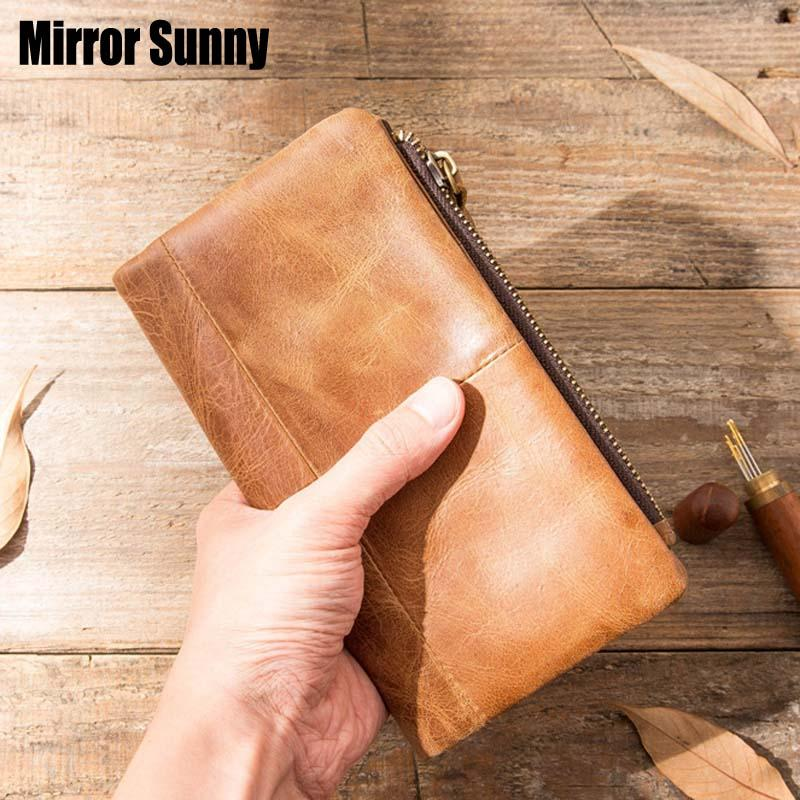 Men's Wallet First Layer Genuine Leather Card Holder Money Hi Capacity Gift Bag