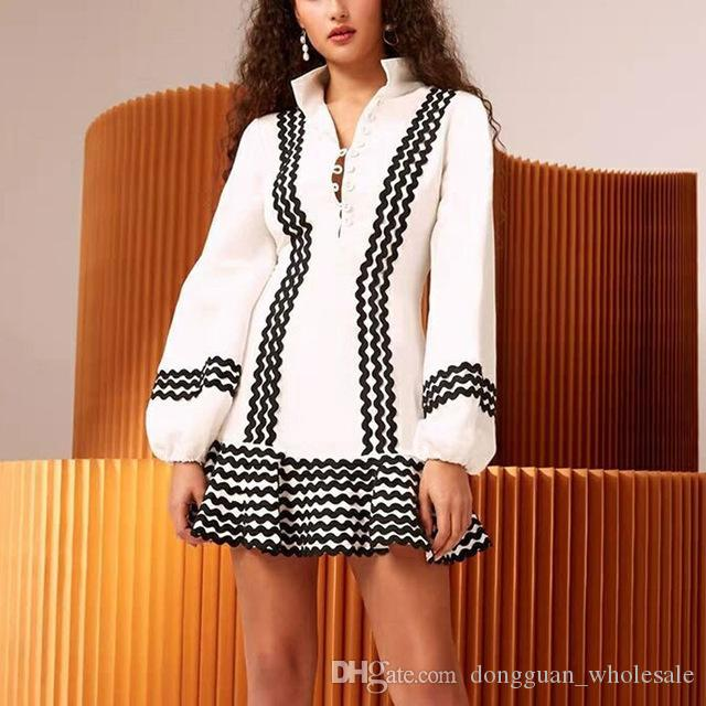 e1da9df754d 2019 High Quality Women Fashion Mini-dress Long Sleeve Sexy Elegant Dress  for Women Holiday And Beach Stripe Dress Vestidos Dress Holiday Fashion  Dress ...
