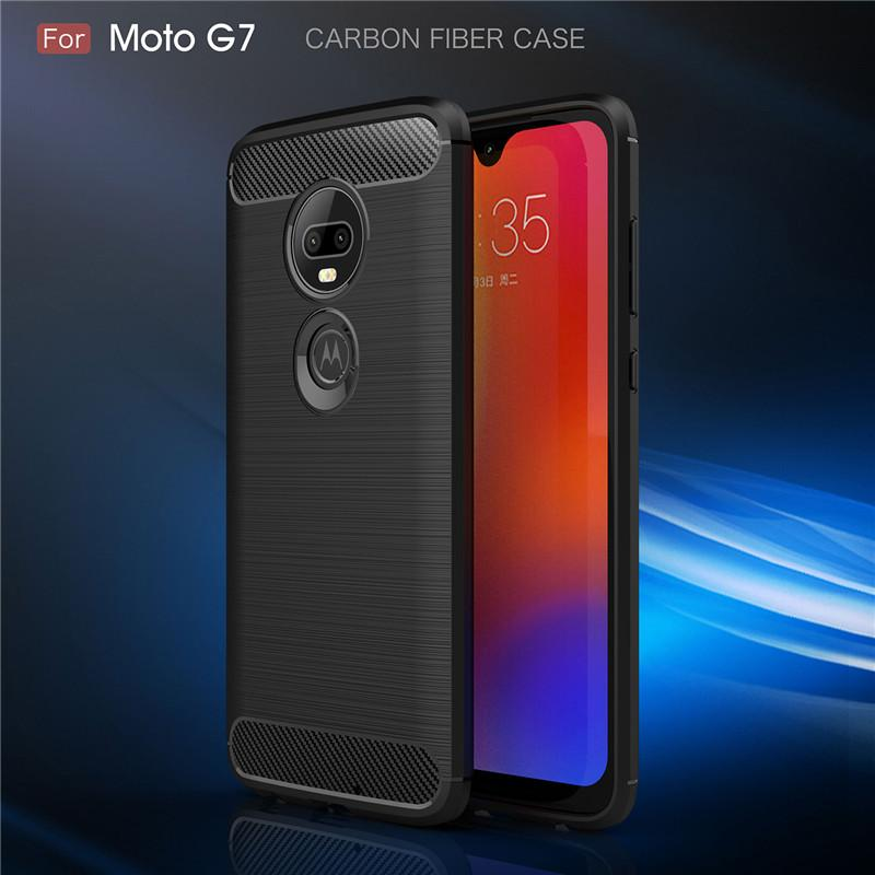 For Motorola G7 Cubierta de TPU resistente de fibra de carbono Para Moto E4 E6 G5 G5S G6 Plus Z2 Z3 Z4 Play P40 P30 Note / Power Case E5 Play go