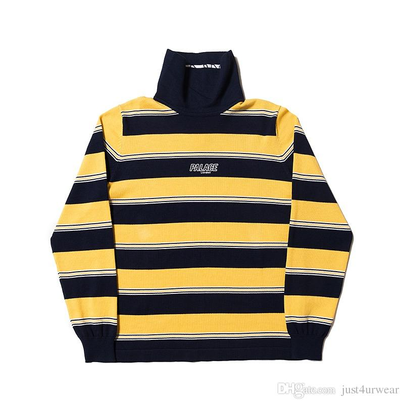 6beac160da5b3 2019 Striped High Neck Sweaters Fashion Brand Mens Sweaters Streetwear  LONDON Letter Print Sweaters Womens Tops Man Hip Hop Clothing From  Just4urwear