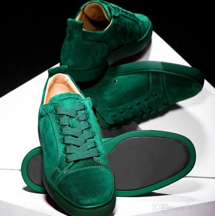 Designer Schuhe Studded Spikes Sneakers junior Red Bottom Low Top Flache Sneakers Jungle Green Herren Wildleder Partyschuhe US 5-12.5