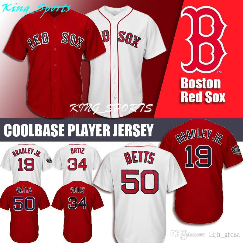 2019 Boston Red Sox Majestic Coolbase Jersey 34 David Ortiz Jersey Jackie  Bradley Jr. Jersey 50 Mookie Betts 15 Dustin Pedroia 16 Andrew Beninten  From ... fc3e53d67e0