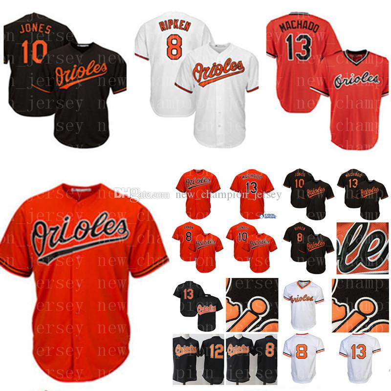 a12a276cc Men s Baltimore Orioles 13 Manny Machado Baseball Jersey 8 Cal Ripken Jr. 10  Adam Jones 12 Roberto Alomar Stitched Jerseys
