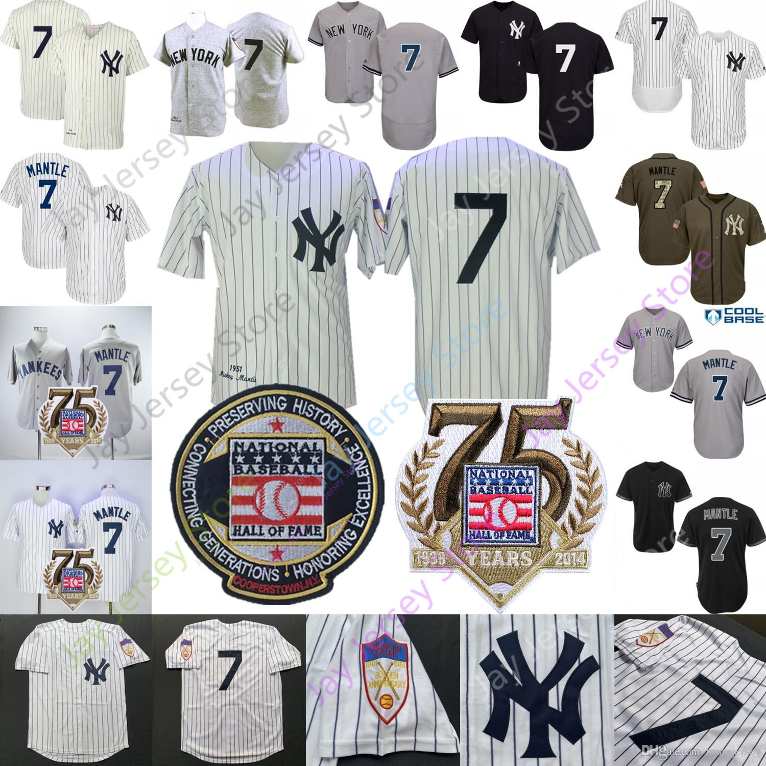 Mickey Mantle Jersey 1951 New York Cooperstown Yankees Hall Of Fame Men Women Youth Cream Pinstripe Home Away MN