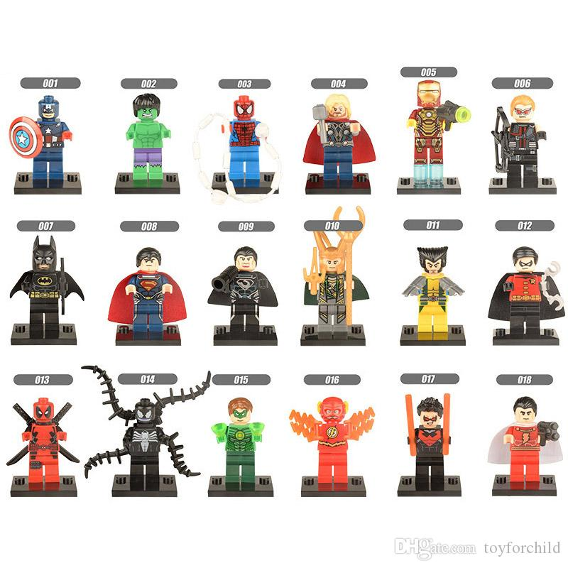 18pcs Super Hero Avengers Batman Captain America Wolverine Iron Man Loki Venom Superman Thor Deadpool Hulk Mini Toy Figure Building Block