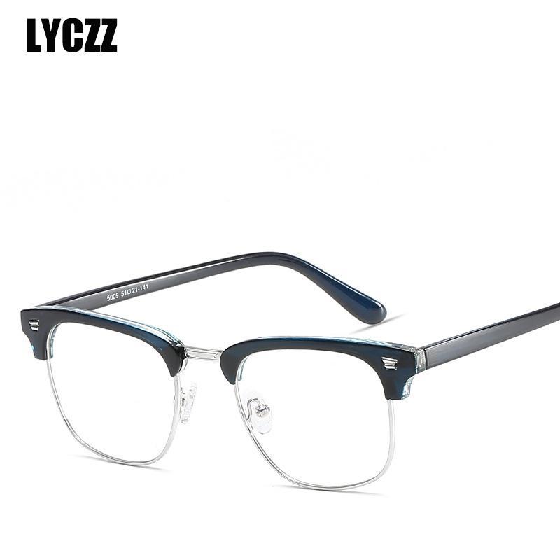3ab434f65e Compre LYCZZ Monturas De Gafas Vintage Montura Óptica TR90 Gafas Negras  Semi Sin Montura Mujeres Metal Gafas Hombres Unisex Gafas De Grau A $41.7  Del ...