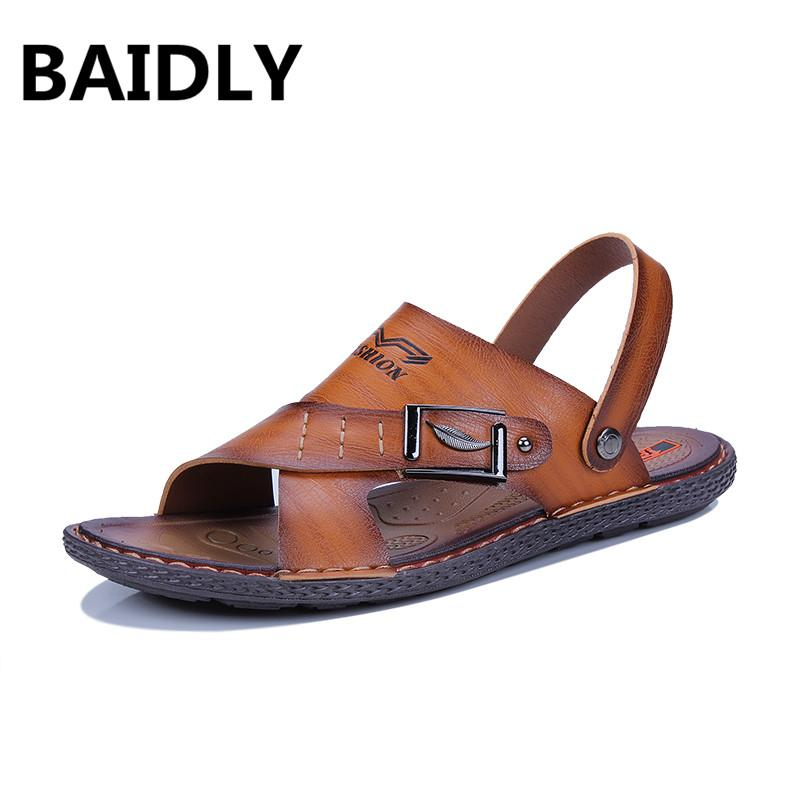 3db3688918 BAIDLY Men Leather Sandals Shoes Open Toe Leather Male Sandal Summer Beach  Men Shoes Flats Sandals