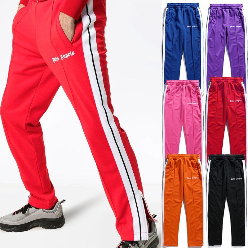 Palm Angels Trainingshose Streetwear Herren Seitenstreifenhose Hose Schwarz Lila Knöchelreißverschluss Jogger Jogginghose Hip Hop Hose Trainingsanzug
