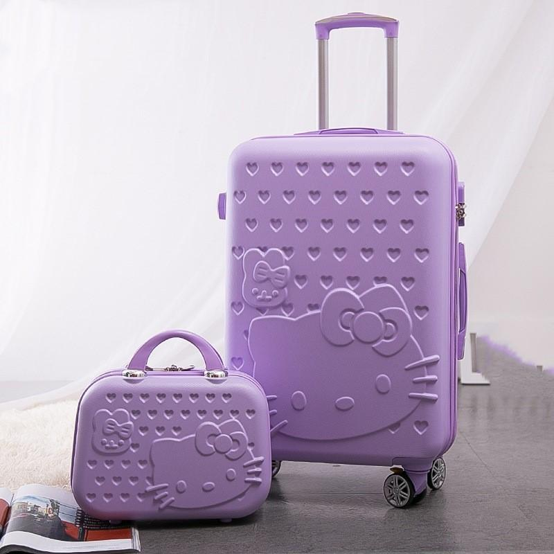 925bc37d8 Women Large Capacity Luggage Set/Girls Hello Kitty Travel Suitcase+Cosmetic  Case 2Pcs/Set/14'' 20'' 24'' ABS Lovely Trolley Bags