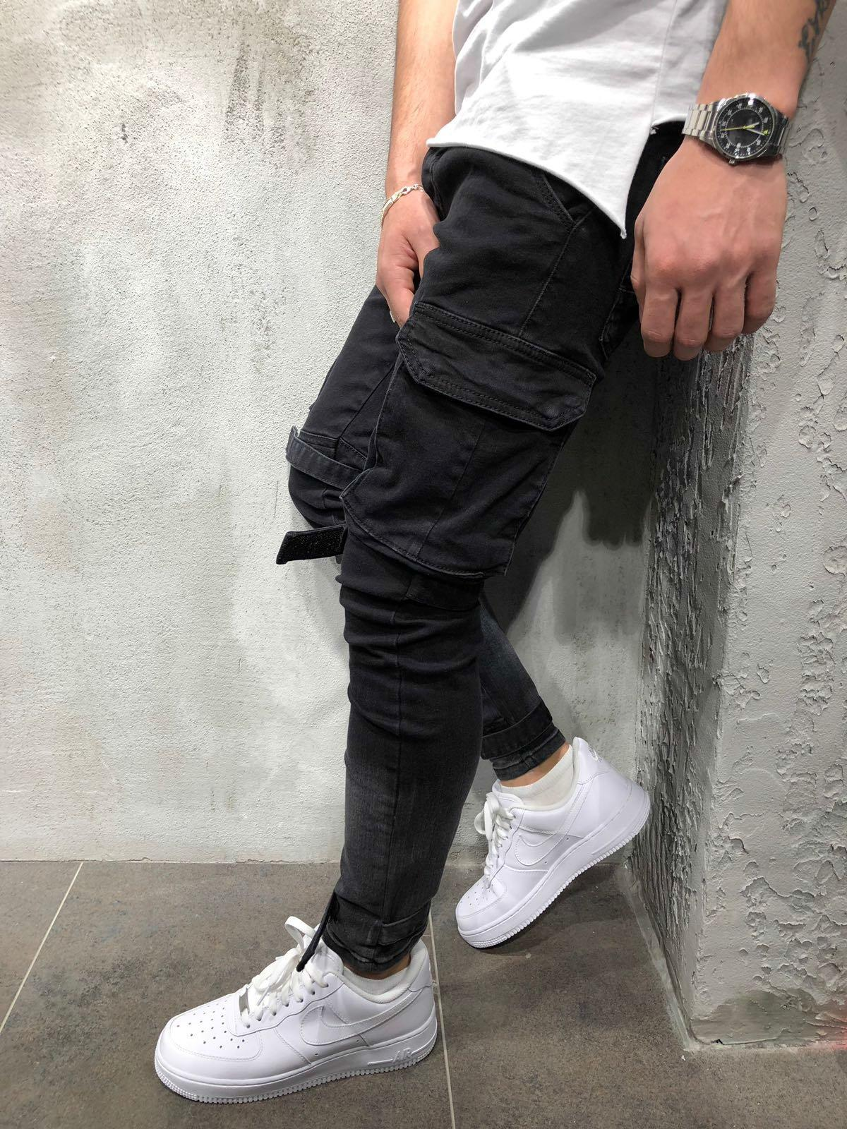 Fall and Winter New Men's Jeans Style Denim Black Large Pocket Leisure Bottom Bottom Trousers for Men pants