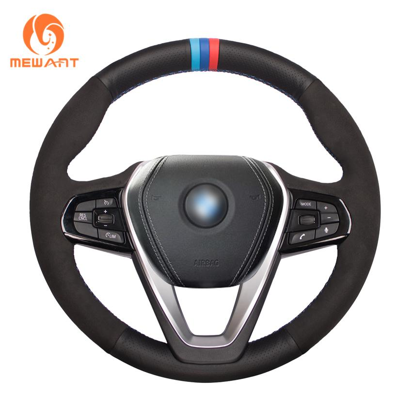 MEWANT Black Genuine Leather Suede Car Steering Wheel Cover for G20 G21 G30 G31 G32 X3 G01 X4 G02 X5 G05 X7 G07 Z4 G29