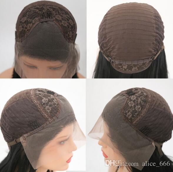 Bestes Verkauf und billigste Damen handgestricktes vordere Spitze lange glatte Haar Perücke Schwarzes Babyhaar natürliches Pony Chemische Faser Perücke Kopfbedeckung